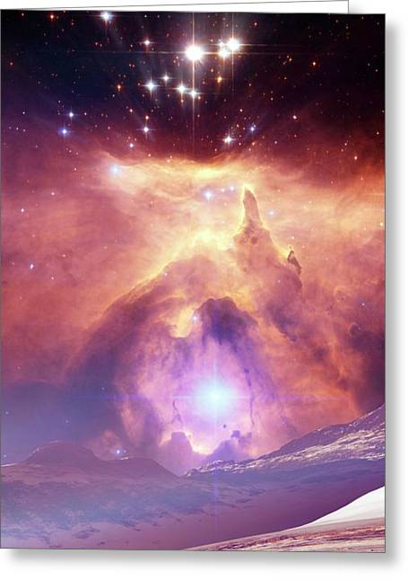 Alien Planet And Nebula Greeting Card by Nasa, Esa And Jes�s Ma�z Apell�niz (instituto De Astrof�sica De Andaluc�a, Spain)/detlev Van Ravenswaay