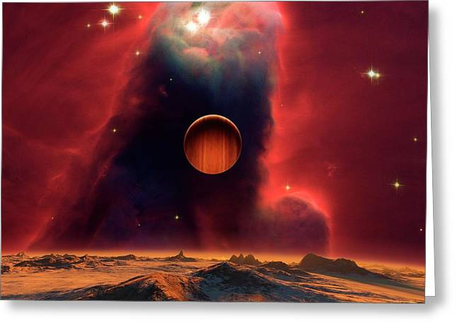 Alien Planets And Nebula Greeting Card