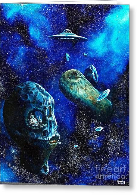 Alien Space Hideout Greeting Card by Murphy Elliott