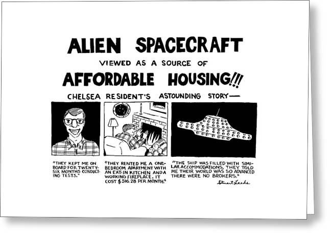 Alien Spacecraft Viewed As A Source Of Affordable Greeting Card by Stuart Leeds