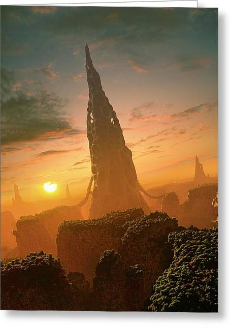Alien Structures On An Extrasolar Planet Greeting Card