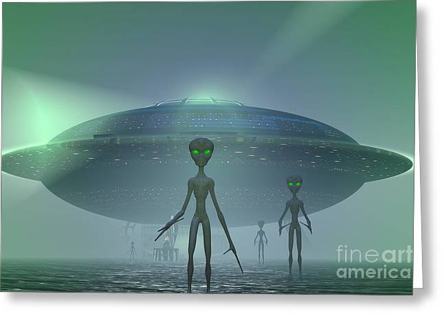 Alien Visitors Greeting Card by Carol and Mike Werner