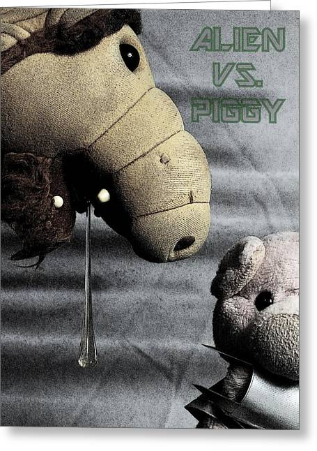 Alien Vs. Piggy Greeting Card by Piggy