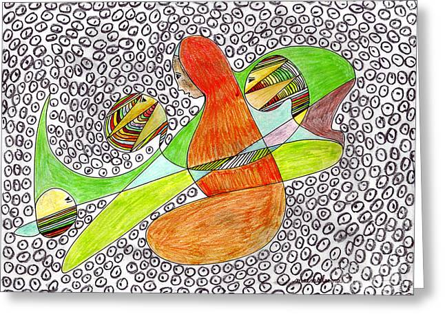 Greeting Card featuring the drawing Alien Women Teleportation by Mukta Gupta