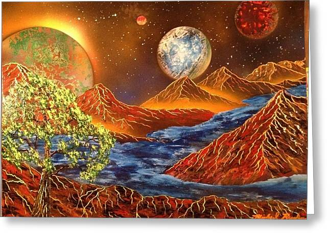 Greeting Card featuring the painting Alien Worlds by Michael Rucker