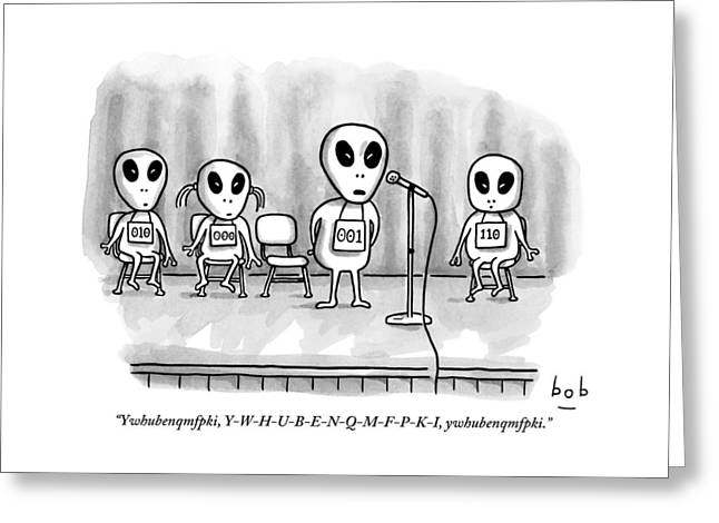 Aliens Participating In A Spelling Bee Greeting Card