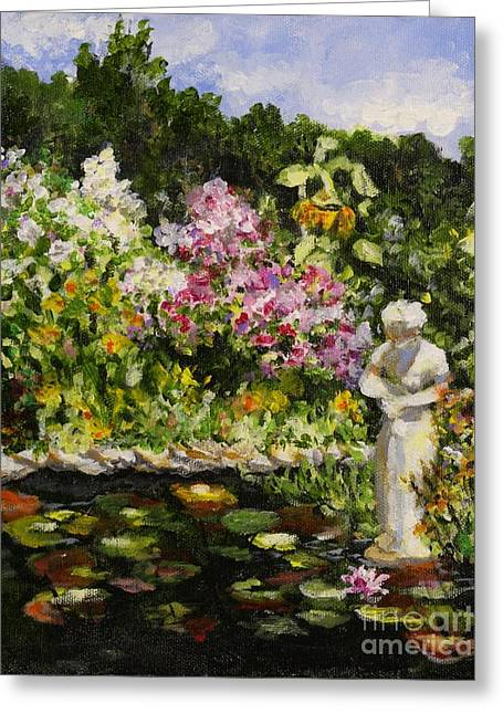 Alisons Water Garden Greeting Card by Alison Caltrider