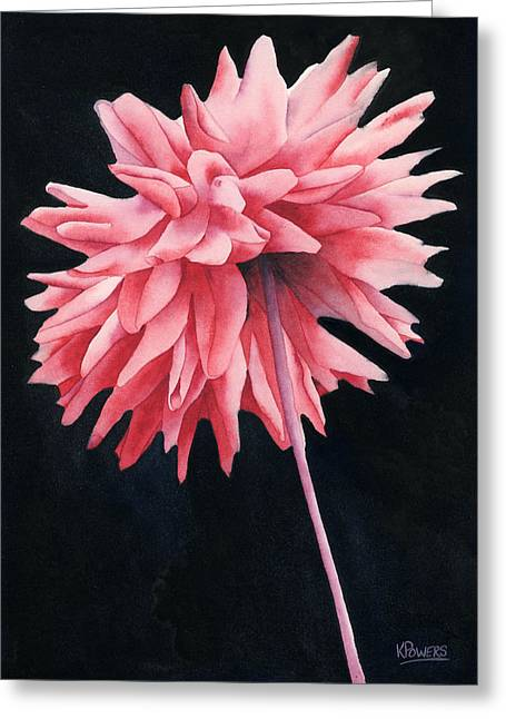 Greeting Card featuring the painting Alizarin Dahlia by Ken Powers