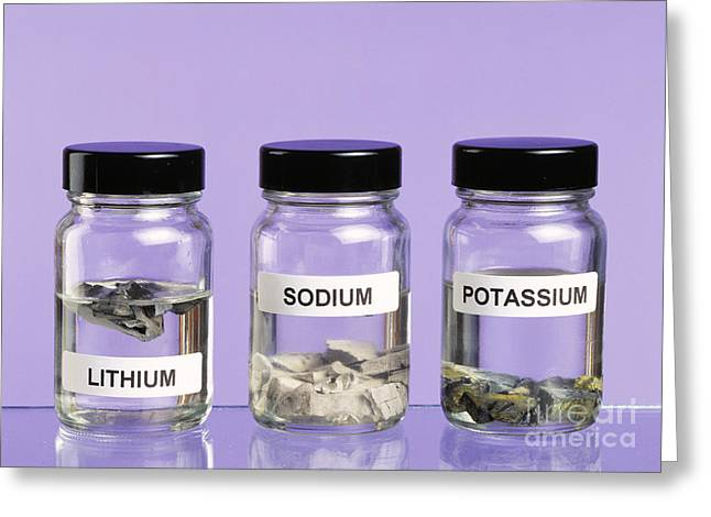 Alkali Metals In Jars Greeting Card by Martyn F. Chillmaid