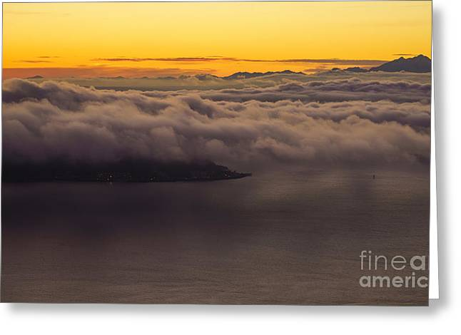 Alki Point Under The Clouds Greeting Card by Mike Reid