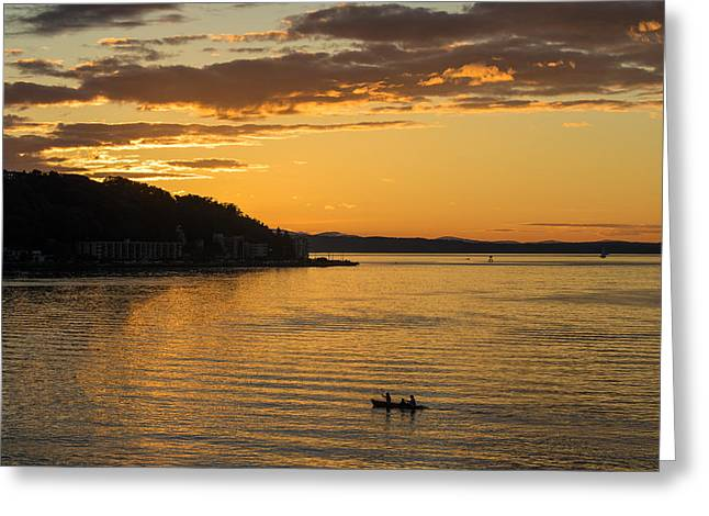 Alki Sunset Waters Greeting Card by Mike Reid