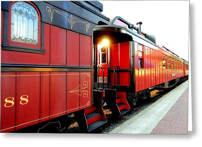 Greeting Card featuring the photograph All Aboard by Mary Beth Landis
