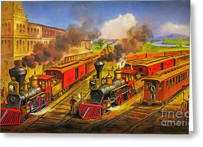 All Aboard The Lightning Express 1874 Greeting Card by Lianne Schneider