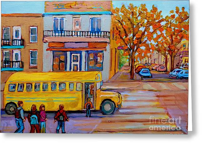All Aboard The School Bus Montreal Street Scene Greeting Card by Carole Spandau