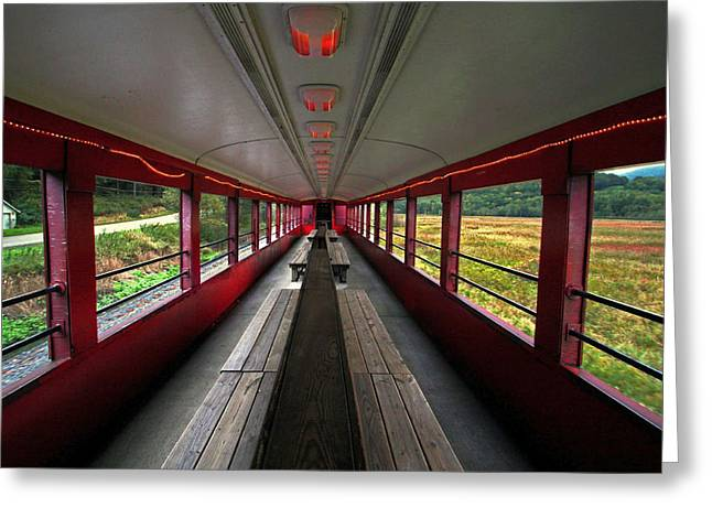 Greeting Card featuring the photograph All Aboard Tioga Central Railroad by Suzanne Stout