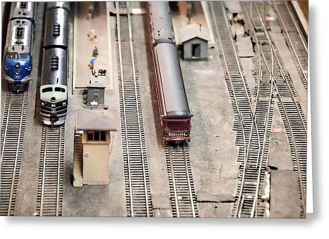 Model Trains At The Train Station Greeting Card by Vizual Studio
