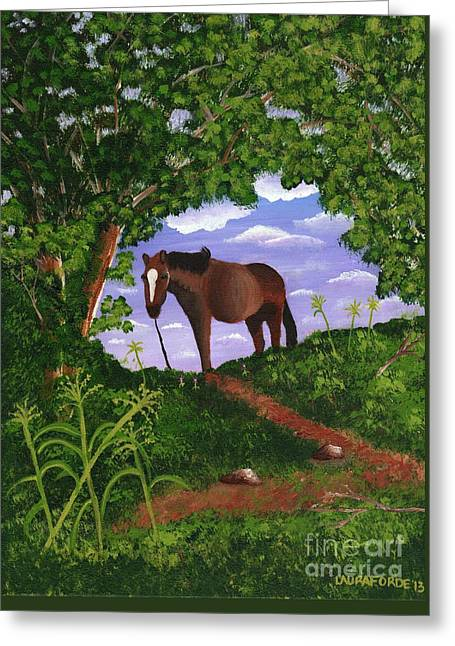 Greeting Card featuring the painting All Alone by Laura Forde