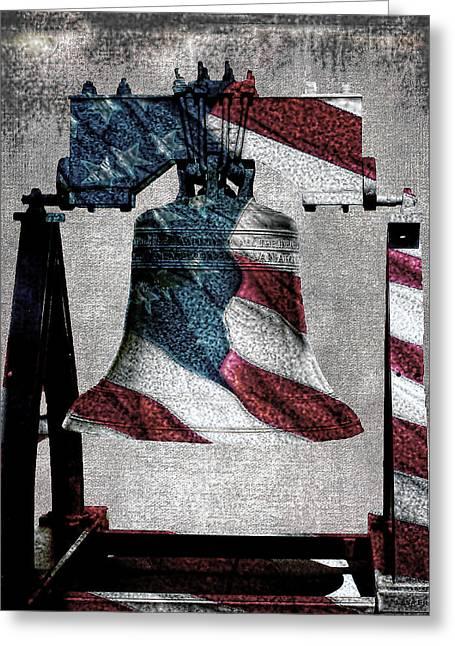 All American Liberty Bell Art_denim Greeting Card