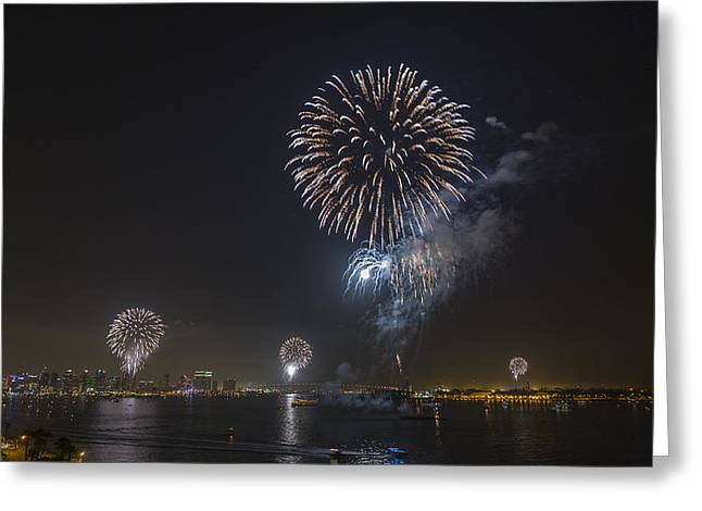 All At Once San Diego Fireworks Greeting Card by Scott Campbell