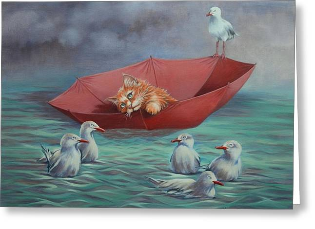 Greeting Card featuring the painting All At Sea by Cynthia House