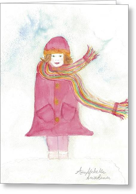 All Dressed Up And Ready For Snow Greeting Card by Ann Michelle Swadener