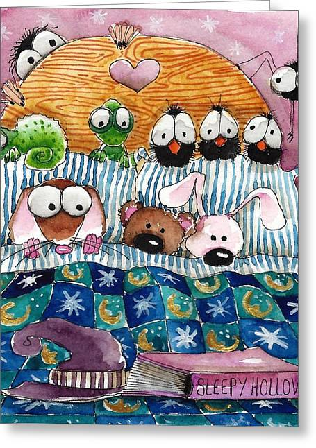 All In The Bed Greeting Card by Lucia Stewart