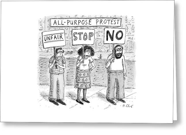 All-purpose Protest  -  Three Picketers Stand Greeting Card