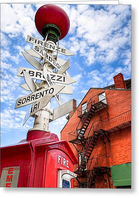 All Signs Point To Little Italy - Boston Greeting Card by Mark E Tisdale