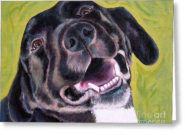 All Smiles Black Dog Greeting Card