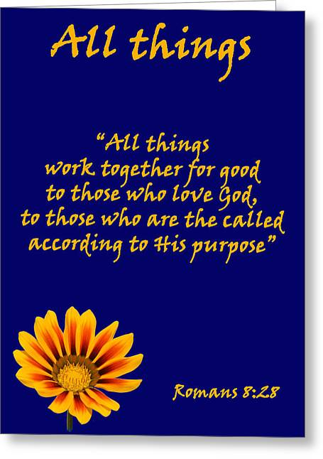 All Things Romans Chapter Eight Verse Twenty Eight. Greeting Card