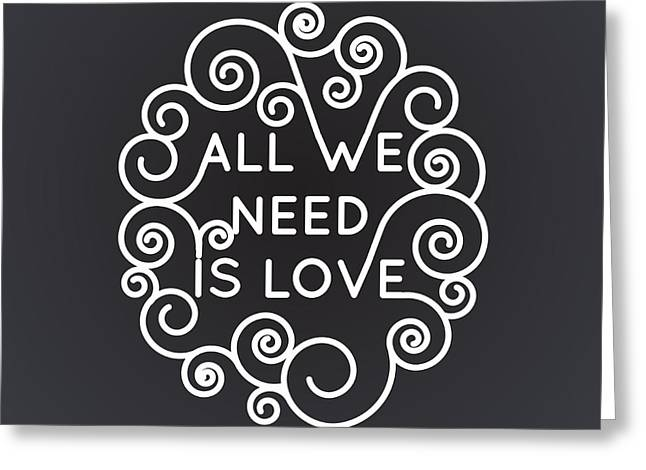 All We Need Is Love - Vector Geometric Greeting Card