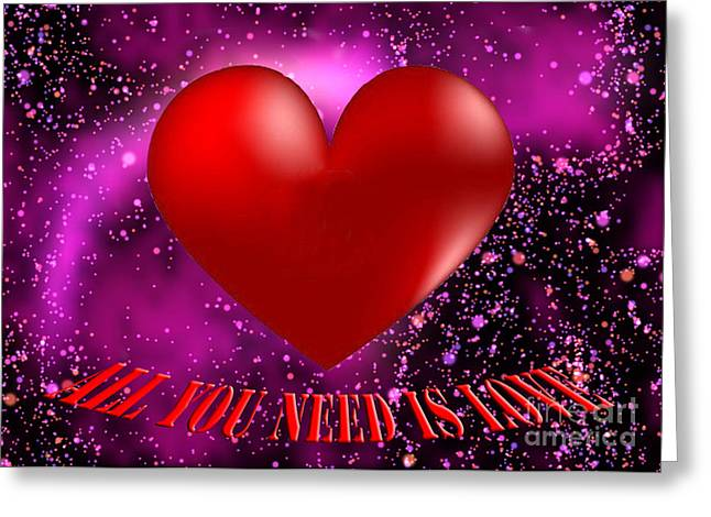 All You Need Is Love Greeting Card by Rob Hawkins