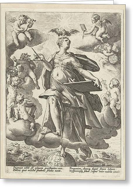 Allegory Of Art, Hendrick Goltzius Greeting Card by Hendrick Goltzius
