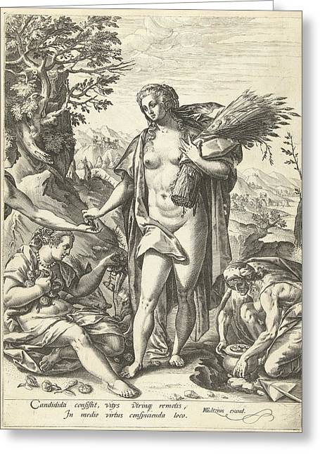Allegory Of Charity, Hendrick Goltzius Greeting Card