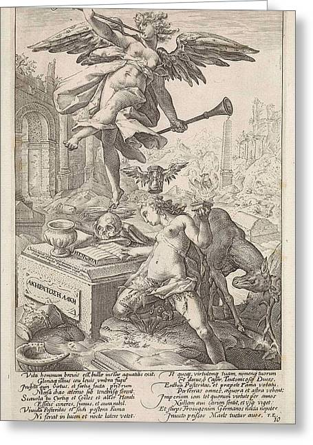Allegory Of Fame And History, Anonymous, Hendrick Goltzius Greeting Card by Hendrick Goltzius And Franco Estius