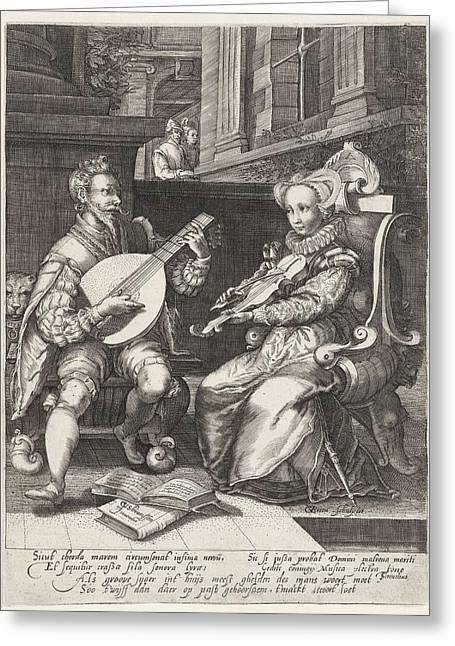 Allegory Of Marriage, Print Maker Gillis Van Breen Greeting Card by Gillis Van Breen And Cornelis Cussens And Theodorus Schrevelius