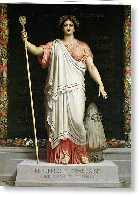 Allegory Of The Republic, 1848 Oil On Canvas Greeting Card
