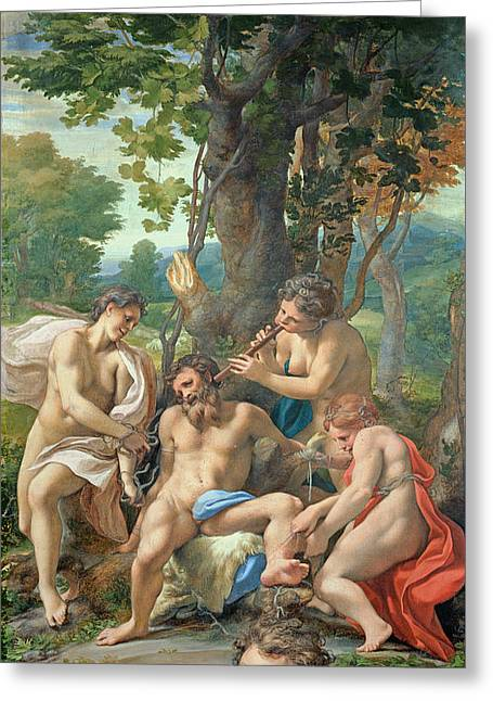 Allegory Of The Vices Greeting Card by Correggio