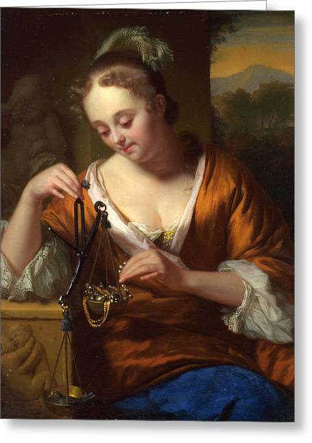 Allegory Of Virtue And Riches Greeting Card by Godfried Schalcken