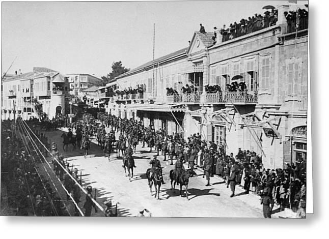 Allenby Entering Jerusalem Greeting Card by Granger