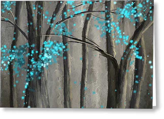 Alleviation- Gray And Turquoise Art Greeting Card by Lourry Legarde