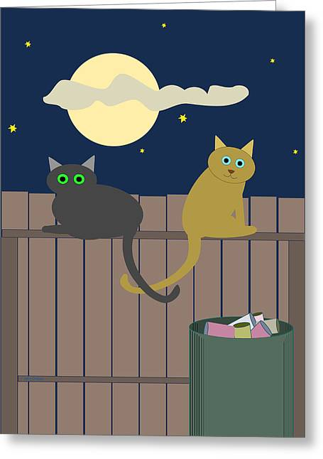 Alley Cats On A Fence Greeting Card