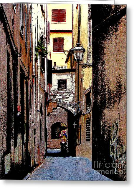 Greeting Card featuring the digital art Alley In Florence 2 Digitized by Jennie Breeze