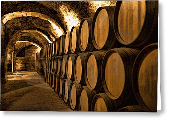 Alley Of Barrels At The Winery Greeting Card by Elaine Plesser