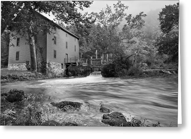 Alley Spring Mill - Black And White Greeting Card by Gregory Ballos