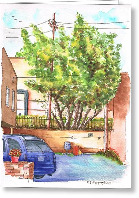 Alley With A Car In Olsen And Sunset Blvd - West Hollywood - California Greeting Card by Carlos G Groppa