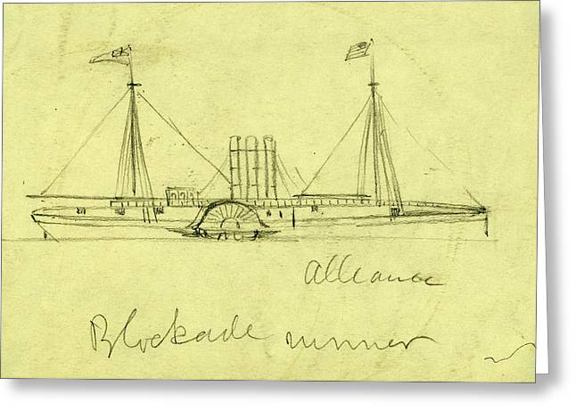 Alliance, Blockade Runner, Between 1860 And 1865 Greeting Card by Quint Lox