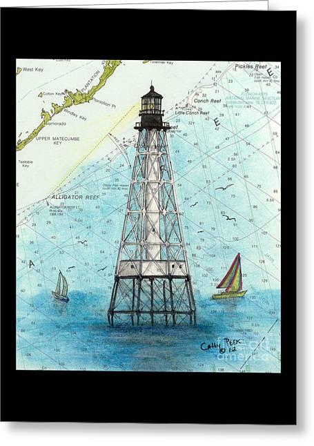 Alligator Reef Lighthouse Fl Keys Nautical Map Cathy Peek Greeting Card