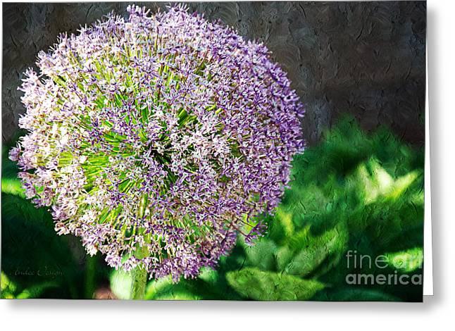 Allium Hollandicum Purple Sensation Painterly Greeting Card
