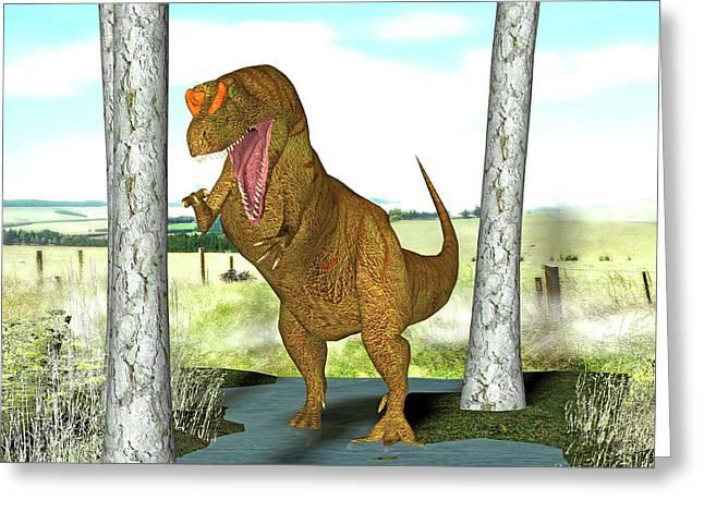 Allosaurus Dinosaur Greeting Card by Friedrich Saurer